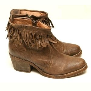 AllSaints Brown Leather Fringe Ankle Booties Boots